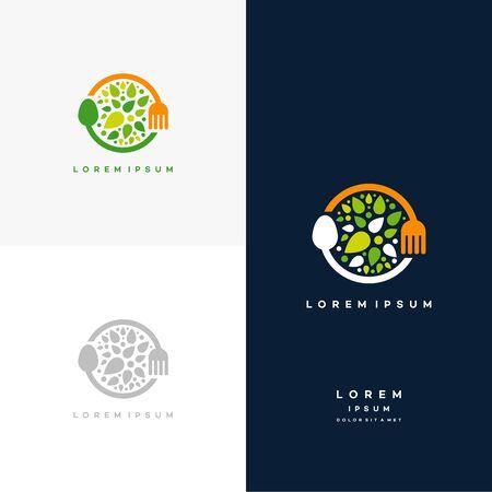 Healthy Nature food logo designs concept vector, Vegetarian food symbol Creative logo
