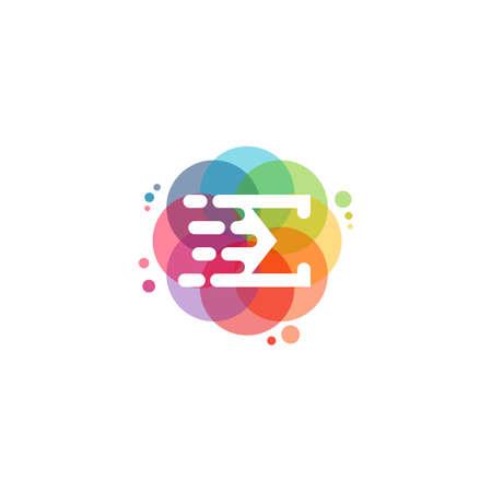Colorful Fast Sigma logo vector, E letter logo designs template, design concept, logo, logotype element for template