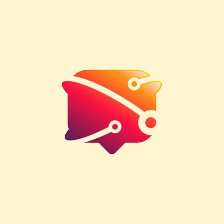 Pixel Chat Discuss logo designs vector, Conversation logo template