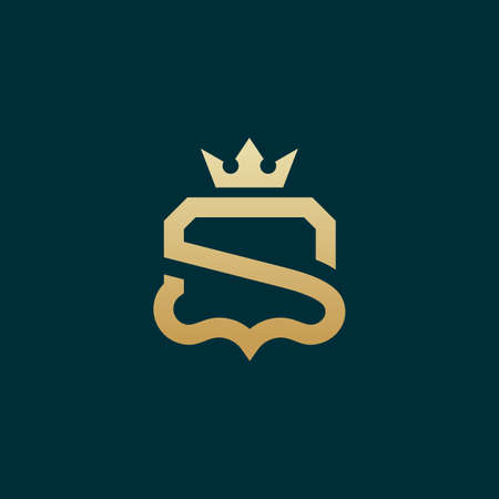 Luxury Simple S Initial Shield logo designs vector, Shield King logo template Logo