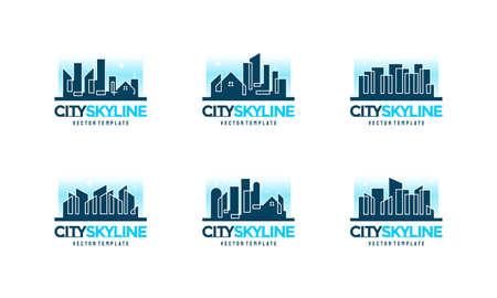 City skyline line art illustration, City Building Construction designs, Real Estate symbol