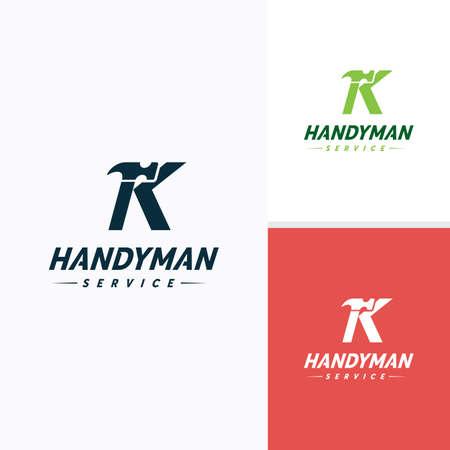 Handyman services icon design, Letter K Hammer icon Vektorové ilustrace