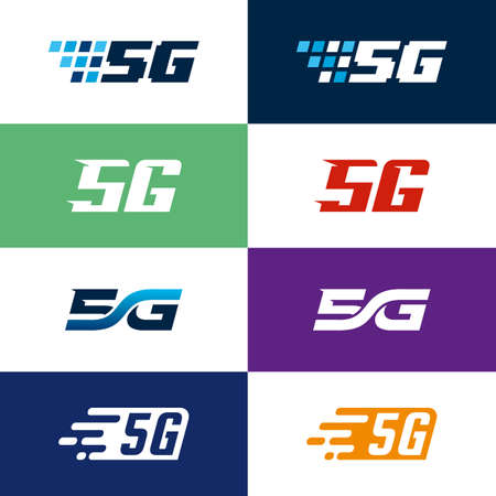 Set of Fast Pixel 5G icon designs concept