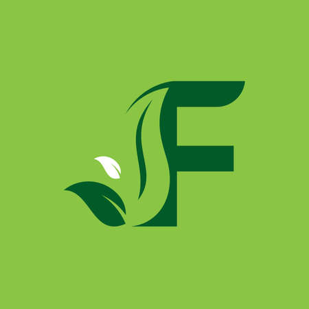 Letter F Green Leaf Logo Design Element, Letter F leaf initial logo template