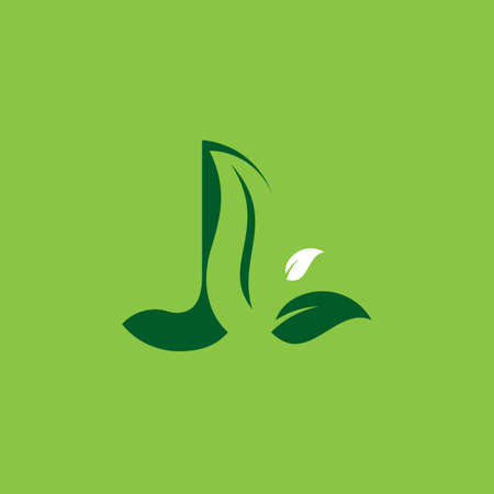 Letter J Green Leaf Logo Design Element, Letter J leaf initial logo template