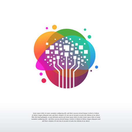 Colorful Modern Digital tree logo designs concept vector, Tech Tree Logo symbol vector