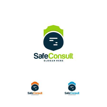 Safe Consult Logo designs concept vector, Protect Discuss logo template symbol, Conversation logo symbol, Shield Icon template Logo