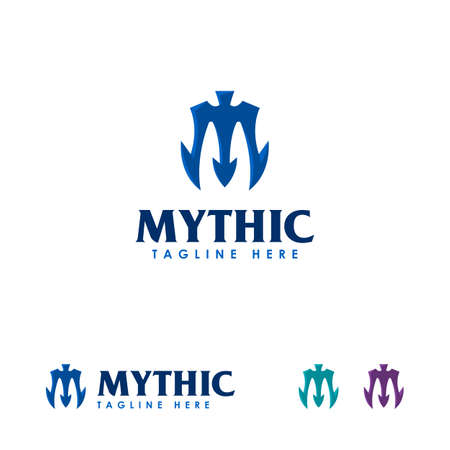 Mythic logo designs template, Trident logo designs symbol, Spear logo symbol