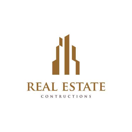 Tower Building simple logo, Real Estate Construction Logo design vector Logos