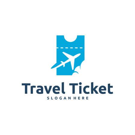 Travel Ticket logo designs concept vector, Flight Ticket logo symbol