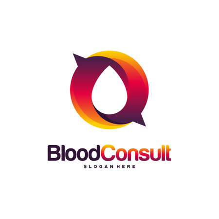 Blood Consult logo designs concept vector, Blood Donation Donor logo template, Blood and Chat Consulting logo icon vector