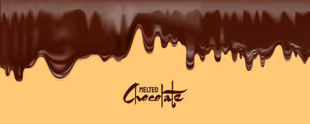 Melted Chocolate vector. Drip dark chocolate isolated white background Vecteurs