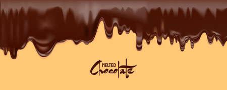 Melted Chocolate vector. Drip dark chocolate isolated white background Ilustração Vetorial