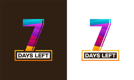 Modern Colorful Countdown left days banner, number of days left badge for promotion, countdown sales vector illustration