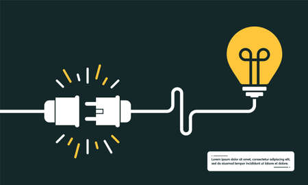 Idea concept, human brain in light bulb, creative bulb sign with electric plug and cable background vector illustration