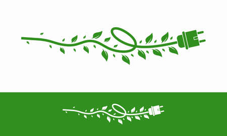 Green energy electricity, electric plug icon sign with cable and leaf vector Illustration Illusztráció