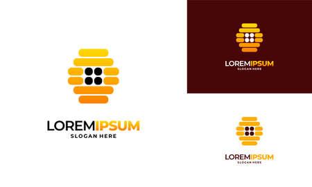 Bee house logo designs concept vector, Honey House Farm logo template vector illustration