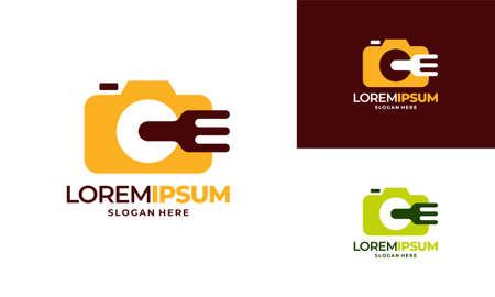 Food Vlog Logo designs concept vector, Food Photography logo template illustration Illusztráció