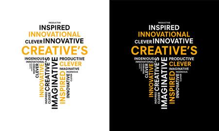 word of Creative typography with bulb shape, creative typography text word art vector marketing illustration Illusztráció