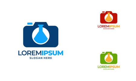 Science Photography logo designs concept vector, Laboratory and Camera logo icon