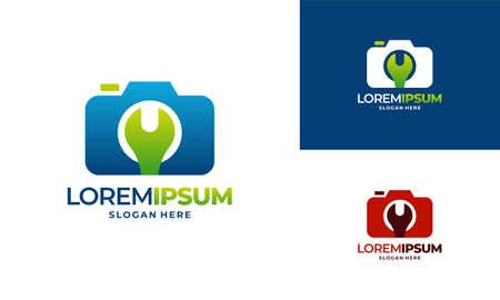 Camera Service logo designs concept vector, Wrench and Camera logo icon