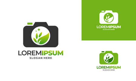 Nature Photography logo designs concept vector, Leaf and camera logo template icon