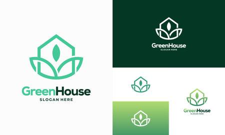 Simple Modern Outline Green House logo designs concept vector, Eco Real Estate logo designs symbol icon