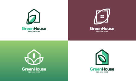 Set of Simple Modern Outline Green House logo designs concept vector, Eco Real Estate logo designs symbol icon Illusztráció
