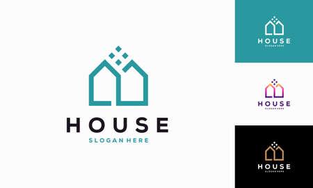 Modern House Outline logo designs concept vector, Simple Real Estate logo symbol