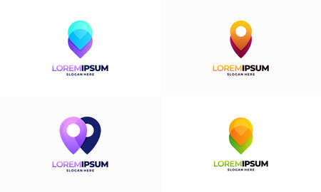 Set of Modern pin point logo designs vector, Pointer Navigation logo template icon symbol
