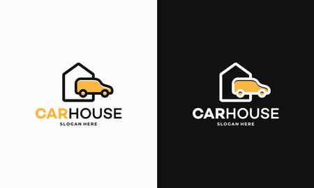 Simple Car House Garage logo designs concept vector, Outline House Moving Truck Logo Template Design Vector, Emblem, Design Concept Illusztráció