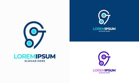Modern designs Point Tech logo template, Digital Point Technology Logo template designs vector illustration Illusztráció