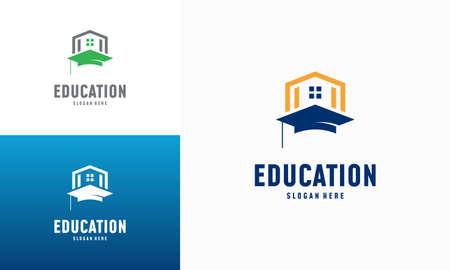 Home Learning logo designs concept vector. Home Education logo template, Real estate symbol Illusztráció