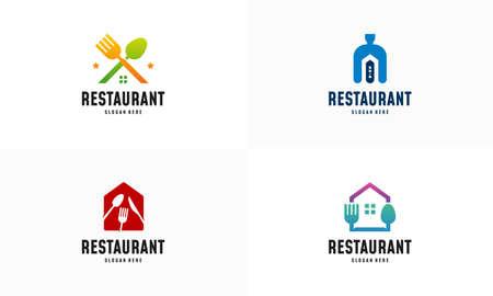 Set of Modern Food House logo designs concept vector, Restaurant logo symbol icon
