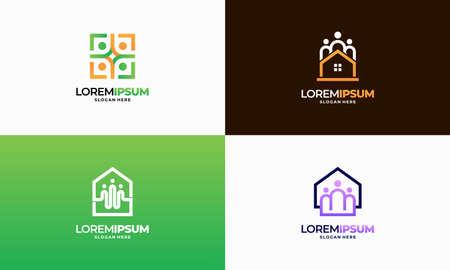 Set of Modern Outline Property Community logo designs concept vector, Real Estate Community logo template