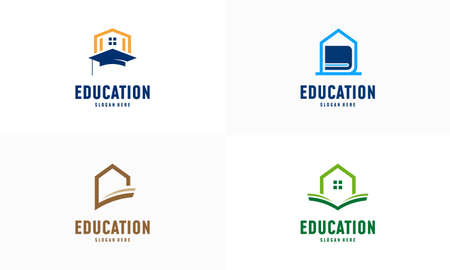 Set of Home Learning logo designs concept vector. Home Education logo template, Real estate symbol