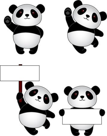 oso panda: De dibujos animados divertido oso panda