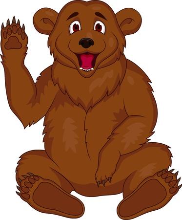 Vector illustration of brown bear cartoon  Vector