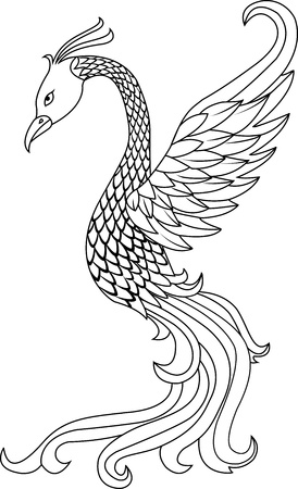 ancient bird: Vector illustration of Phoenix bird tattoo