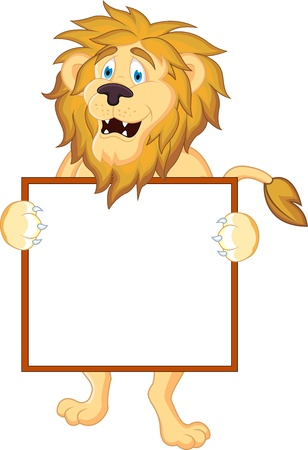 Lion cartoon and blank sign  Vector