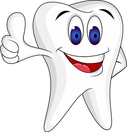 dientes con caries: Diente con el pulgar arriba Vectores