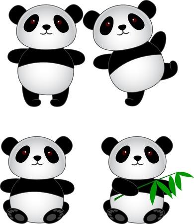 giant panda: Panda cartoon  Illustration