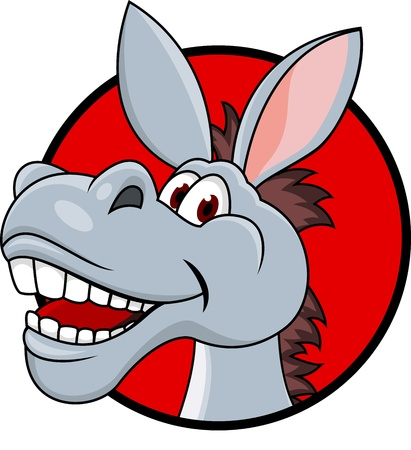 donkey: Donkey hoofd cartoon Stock Illustratie