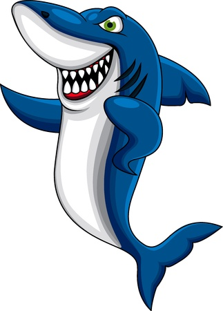 Happy shark cartoon  Stock Vector - 13396202