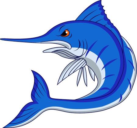 saltwater fish: Blue Marlin cartone animato Vettoriali