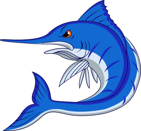 Blue marlin cartoon  Vector