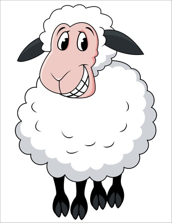 Smiling sheep cartoon Stock Vector - 13396193