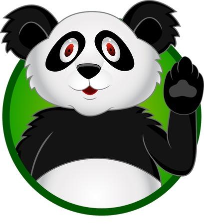 Panda cartoon with hand waving  Vector
