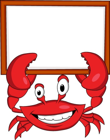 crab cartoon: Crab with blank sign