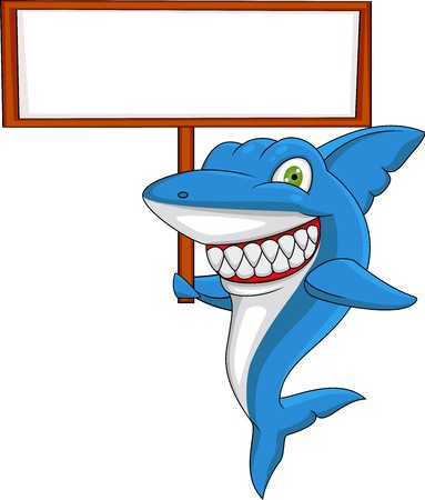 animal teeth: Shark with blank sign